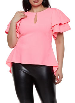 Plus Size Textured High Low Top - 1912074286010
