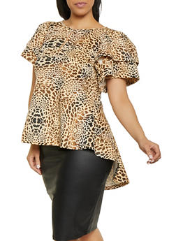 Plus Size Tiered Sleeve Leopard Top - 1912074286016