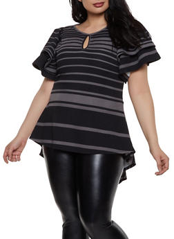 Plus Size Striped Textured Knit Top - 1912074286111
