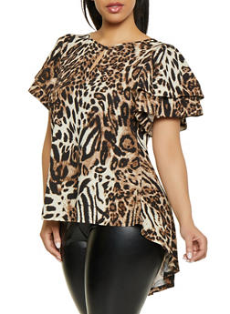 Plus Size Tiered Sleeve Animal Print Top - 1912074286440