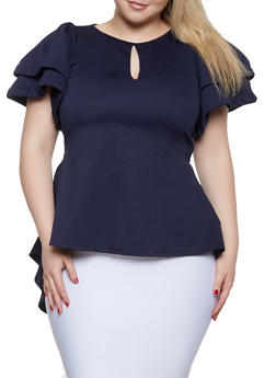 Plus Size Solid Tiered Sleeve High Low Top - 1912074286660