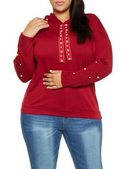 Plus Size Faux Pearl Studded Sweatshirt - 1912074287106
