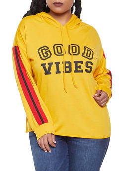 Plus Size Good Vibes Graphic Sweatshirt - 1912074287115