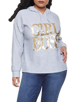Plus Size Graphic Quilted Sweatshirt - 1912074287117
