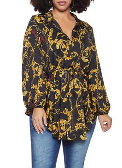 Plus Size Printed Plunge Tunic Top - 1912074287122