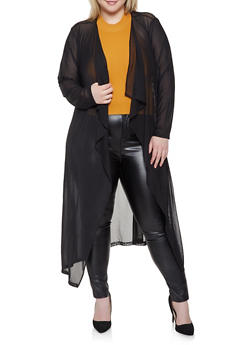 Plus Size Mesh Duster - 1912074287224
