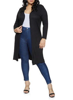 Plus Size Ribbed Knit Duster - 1912074288833
