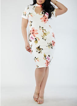 Plus Size Soft Knit Choker Neck Dress - 1912074288919