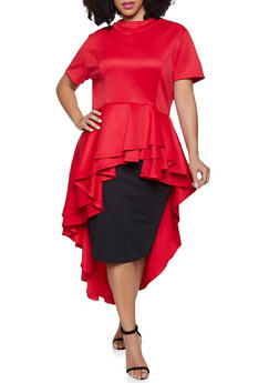 Plus Size High Low Peplum Scuba Top - 1912074289022