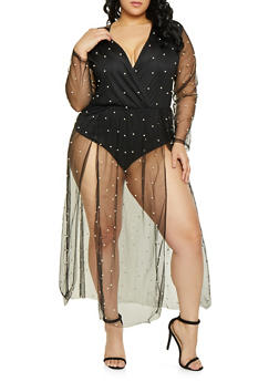 Plus Size Faux Pearl Studded Overlay Bodysuit - 1912074289100