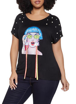 Plus Size Faux Pearl Studded Face Patch Tee - 1912074289106