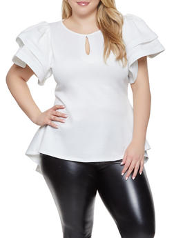 Plus Size Tiered Sleeve High Low Top - 1912074289109