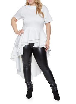 Plus Size High Low Peplum Top - 1912074289110