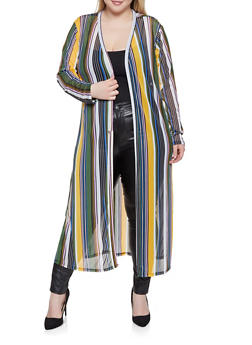 Plus Size Striped Mesh Duster - 1912074289209