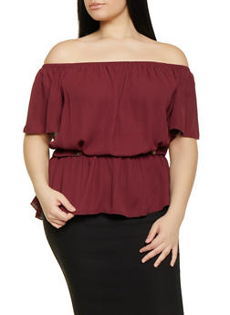Plus Size Ruffle Hem Off the Shoulder Top - 1912074289901