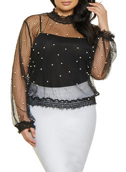 Plus Size Faux Pearl Studded Mock Neck Mesh Top - 1912074289903