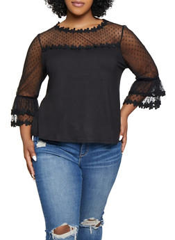Polka Dot Mesh Yoke Top - Black - Size 2X - 1912074289907