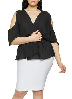 Plus Size Drop Waist Cold Shoulder Top - 1912074289909