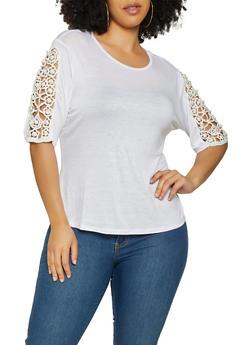 Plus Size Faux Pearl Crochet Sleeve Top - 1912074289910