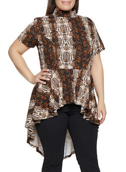 Plus Size Snake Print Mock Neck High Low Top - 1912074289914