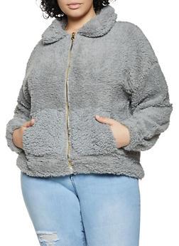 Plus Size Sherpa Zip Front Sweatshirt - 1912075170043