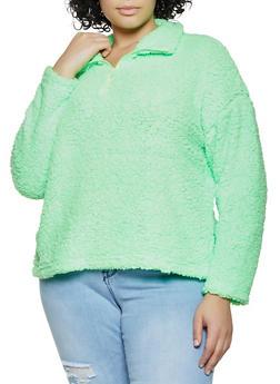 Plus Size Zip Neck Sherpa Sweatshirt - 1912075170048