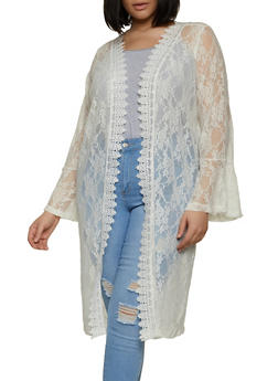 Plus Size Lace Bell Sleeve Duster - 1912075177021