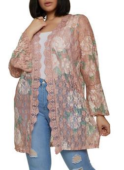 Plus Size Floral Lace Crochet Insert Cardigan - 1912075177024
