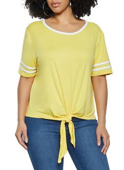 Plus Size Varsity Stripe Tie Front Tee - 1915001443890
