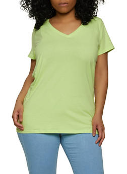 Plus Size Short Sleeve Solid V Neck Tee - 1915015051100