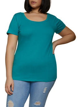 Plus Size Short Sleeve Scoop Neck Tee - 1915015051110