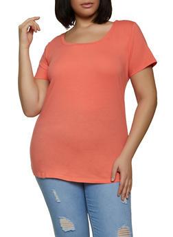 Plus Size Short Sleeve Scoop Neck Tee - 1915015051110