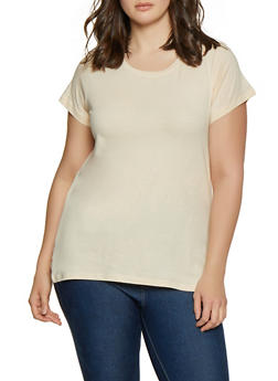 Plus Size Basic Short Sleeve Tee - 1915015053091