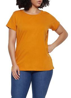 Plus Size Basic Short Sleeve Tee - 1915015053091
