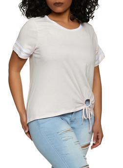 Plus Size Varsity Stripe Scoop Neck Tee - 1915015056090