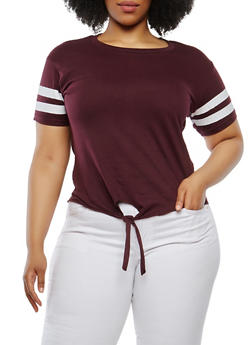 Plus Size Varsity Stripe Basic T Shirt - 1915033870015