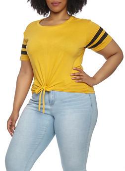 Plus Size Varsity Stripe Basic T Shirt - 1915033870015