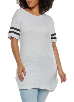 Plus Size Varsity Stripe Basic Tunic Top - 1915033870115