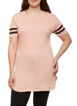 Plus Size Varsity Stripe Basic Tunic Top - 1915033870115