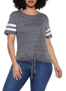Plus Size Varsity Stripe Tie Front Tee - CHARCOAL - 1915033872255