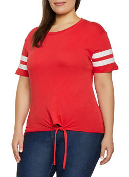 Plus Size Varsity Stripe Tie Front Tee - RED - 1915033872255