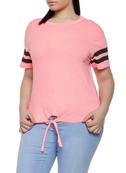 Plus Size Varsity Stripe Tie Front Tee - 1915033872255