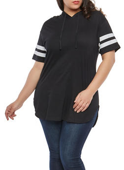 Plus Size Varsity Stripe Hooded Tunic Top - BLACK - 1915033878635