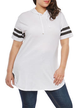 Plus Size Varsity Stripe Hooded Tunic Top - WHITE - 1915033878635