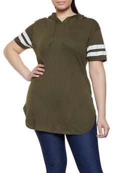 Plus Size Hooded Varsity Stripe Tunic Tee - 1915033878755