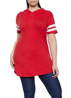 Plus Size Hooded Varsity Stripe Tunic Tee - 1915033878755