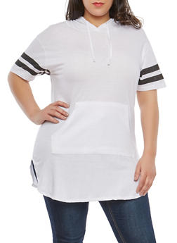 Plus Size Varsity Stripe Sleeve Tunic Top - WHITE - 1915033878955
