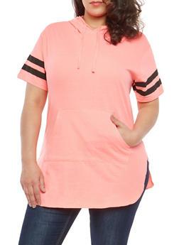Plus Size Varsity Stripe Sleeve Tunic Top - 1915033878955