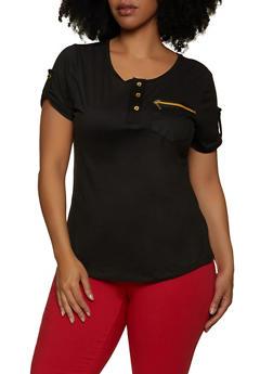 Plus Size Half Button Zip Pocket Top - 1915038340106