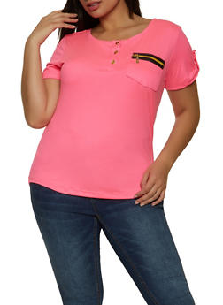 Plus Size Half Button Zip Pocket Top - 1915038340106